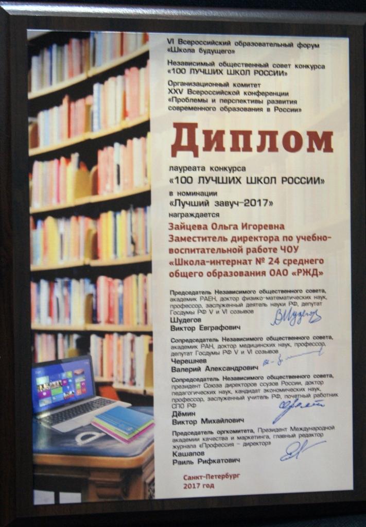 Школа интернат № ОАО РЖД достижения педагогов